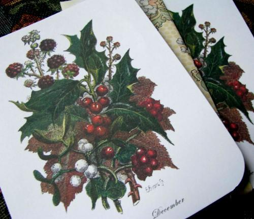 Victorian Stationery November and December Bouquet Note Flats Set