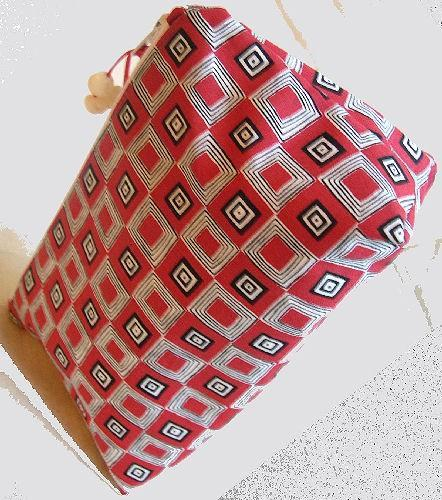 Zipper Pouch Lined Cosmetic Bag in Graphic Black and White and Red All Over