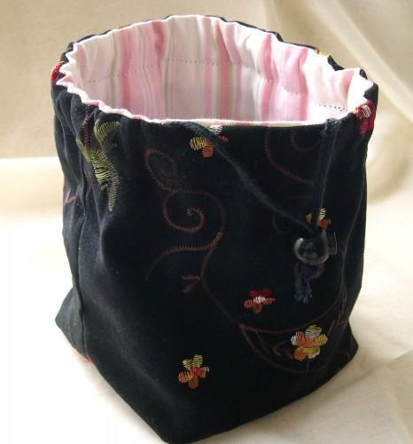 Pouch Purse or Project Bag Hand Crafted In Reversible Black and Pink