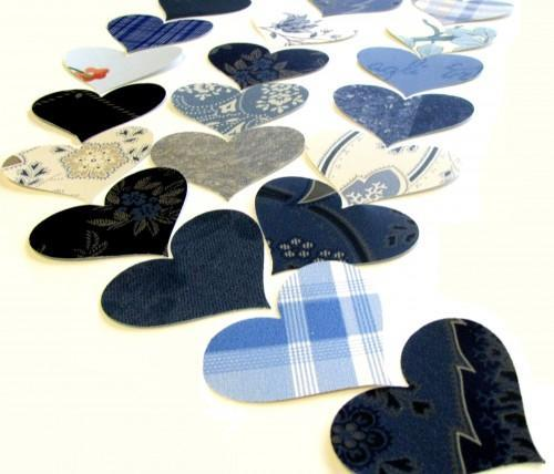 Blue Heart Vintage Wall Paper Punches 50 Piece Packet