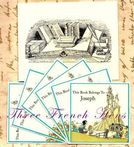 Personalized Custom Set of 24 Fairy Tale Castle Book Plates