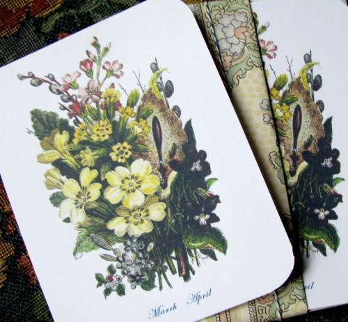 Victorian March and April Flower Bouquet Stationery Note Flats Set