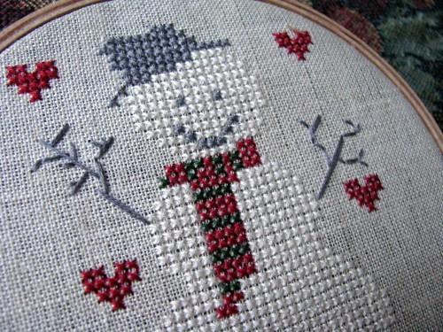 Snowman Winter Embroidered Cross Stitch Cuteness Hoop Wall Art