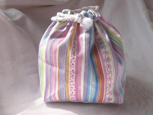 Pouch Purse or Project Bag Reversible in Candy Bright Dots and Stripes