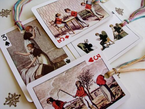 Renaissance Playing Card Gift Tags Set of 4, The Threes