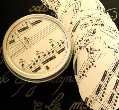 Vintage Sheet Music 2 Inch Die Cut Circle Punches Packet of 50
