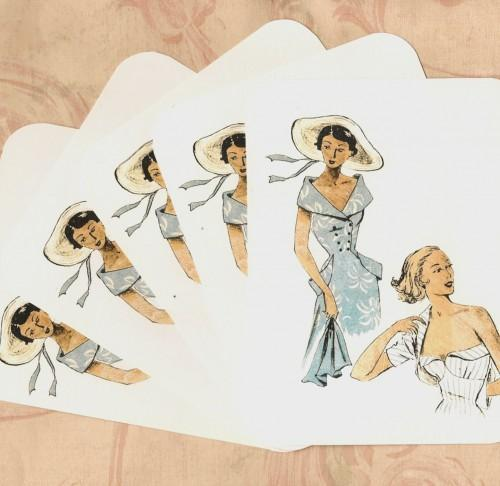 Paris Mid Century Fashions in Sky Blue Stationery Note Flat Set