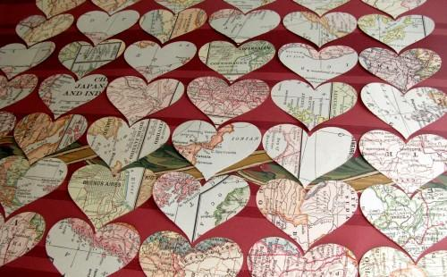Vintage Atlas Map Die Cut Heart Punches 75 Piece Packet