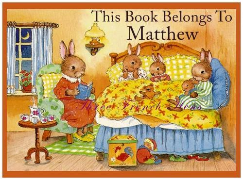 Personalized Set of 24 Book Plates For Your Sleepy Bunny Books