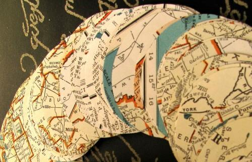 Vintage Map Die Cut 2 Inch Circle Punches Packet of 100