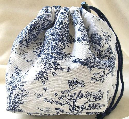 Pouch Purse or Project Reversible Bag Hand Crafted in French Toile