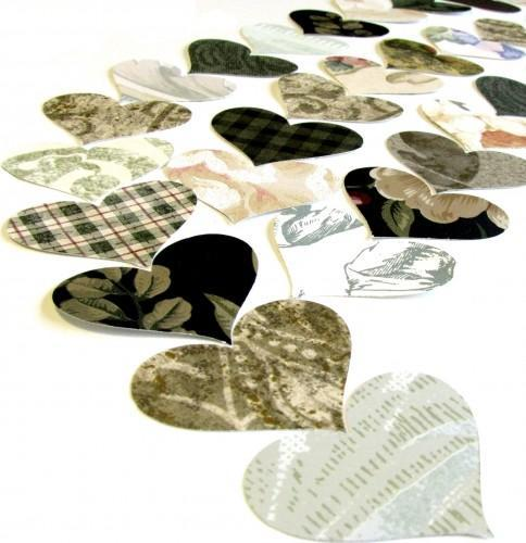 Heart Punches in Greens 75 Piece Vintage Packet