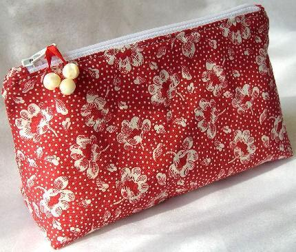 Zipper Pouch Lined Cosmetic Bag In Bright Poppy Red Floral