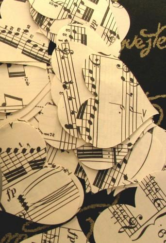 Vintage Sheet Music Packet of 75 Die Cut Heart Punches