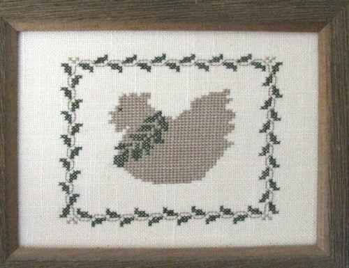 Country Chicken and Ivy Sampler Barn Wood Framed Embroidery