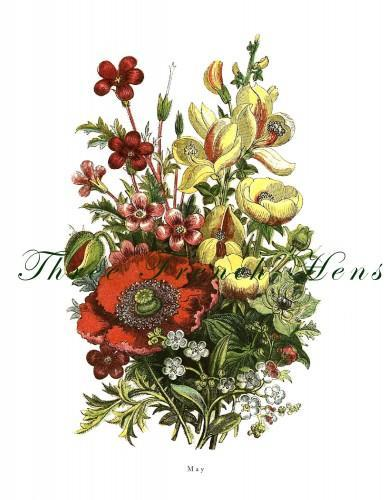Victorian May Flower Bouquet Stationery Botanical Note Flat Set