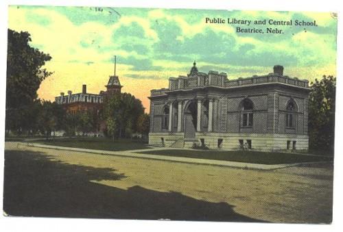 Beatrice Nebraska Postcard Vintage 1910s Library School
