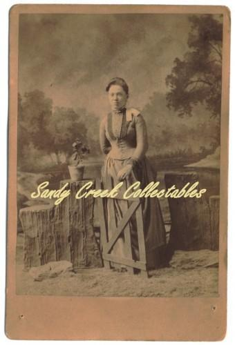 Victorian Lady Cabinet Card Photo Full View Gate Prop Potted Flower