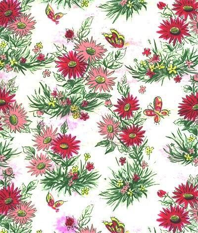 Vintage Wrapping Paper Pink Red Floral 1960s Gift Wrap