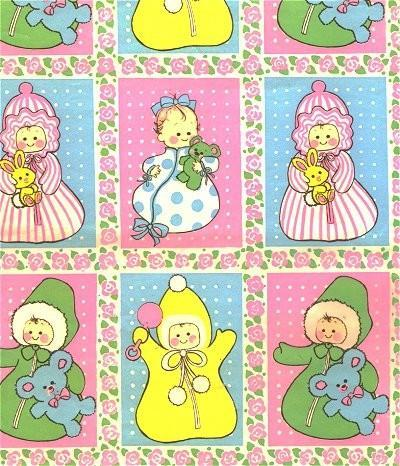 vintage wrapping paper baby shower by sandycreekcollectables on zibbet, Baby shower invitation
