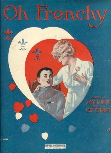 Vintage Sheet Music Oh Frenchy 1910s WWI E.E. Walton Cover Art