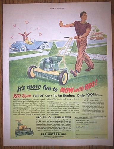 1950 REO ROYALE Lawn Mower Vintage AD Advertising