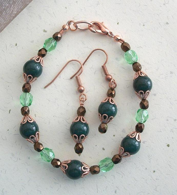 OOAK Czech Firepolish Crystal and Mountain Jade Copper Bracelet and Earring Set