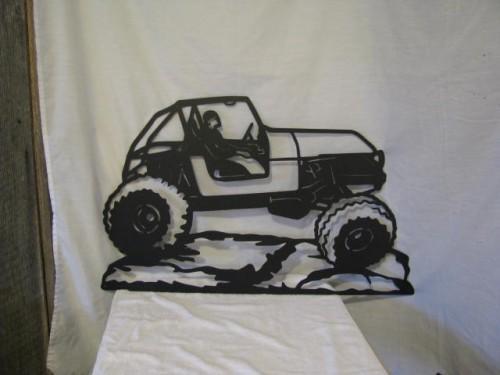 Rock Crawler Jeep Large Metal Wall Yard Art Silhouette
