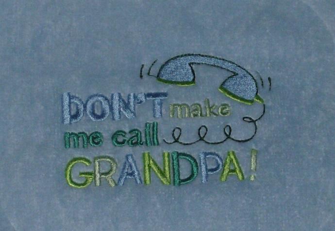 Call Grandpa Fringed Terry Velour Baby Bib