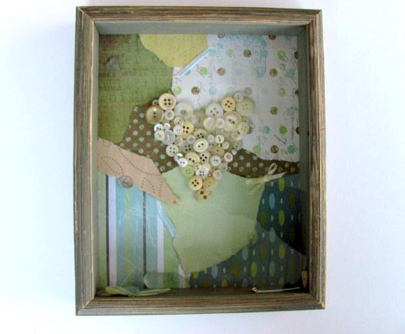Button Heart Shadow Box