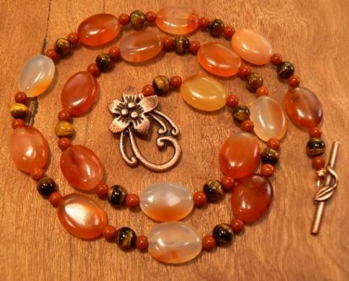 Red Aventurine carnelian and tigers eye necklace with large flower toggle clasp