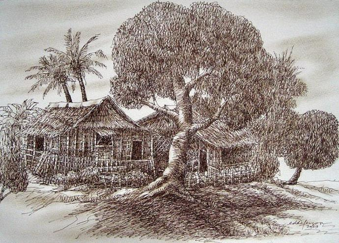 Nipa Hut Drawing Philippine Nipa Hut Series 04