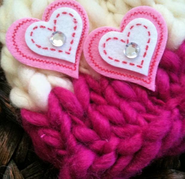 Newborn Woolly Beanie -Raspberry & Cream Love Hearts