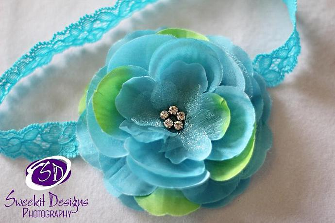 Katherine Leigh Terrific Turquoise/Lemongrass Flower Headband set