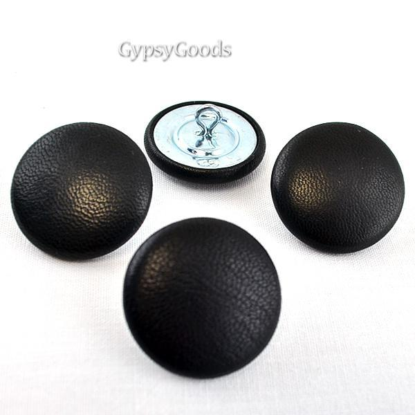 #45- 4 (Four) Black Leather Buttons- size 45-1-1/8 inch 28mm