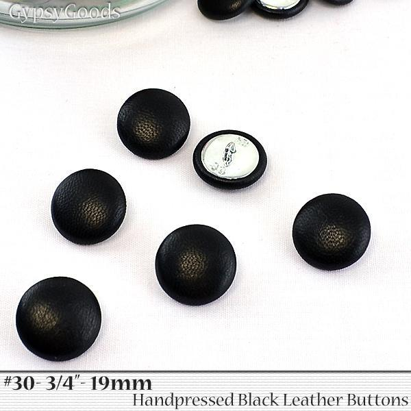 #30- 6 (Six) Black Leather BUTTONS- size 30- 3/4- inch- set of 6