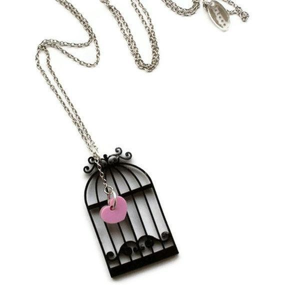 Hidden Love Necklace ,Plexiglass Jewelry,Lasercut Acrylic,Gifts Under 25
