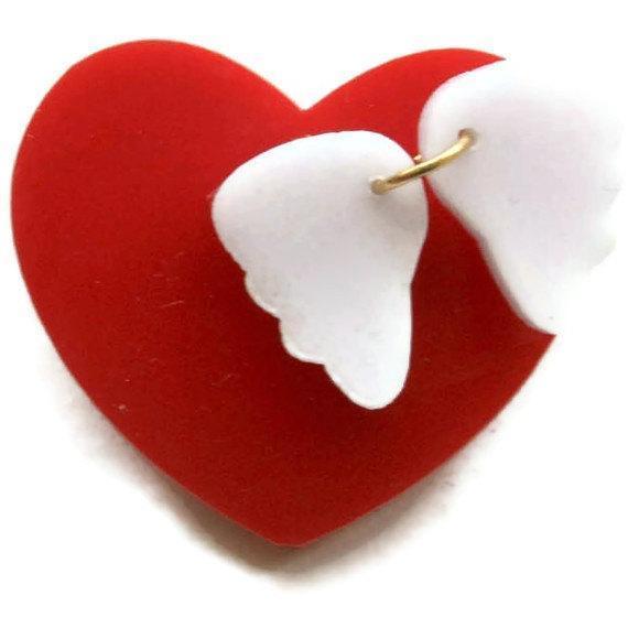 Angel Heart Brooch,Plexiglass Pin,Lasercut Acrylic,Gifts Under 25