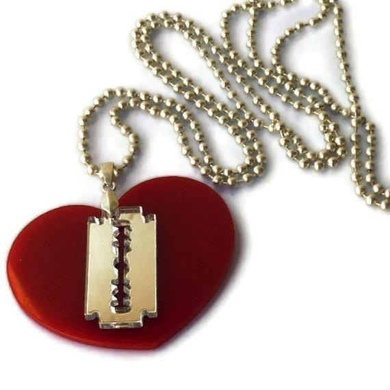 Wounded Heart Necklace,Plexiglass Jewelry,Lasercut Acrylic,Gifts Under 25