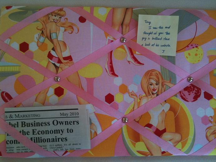 PinBoard/Notice Board/Memo/Pink 60's Retro Babe