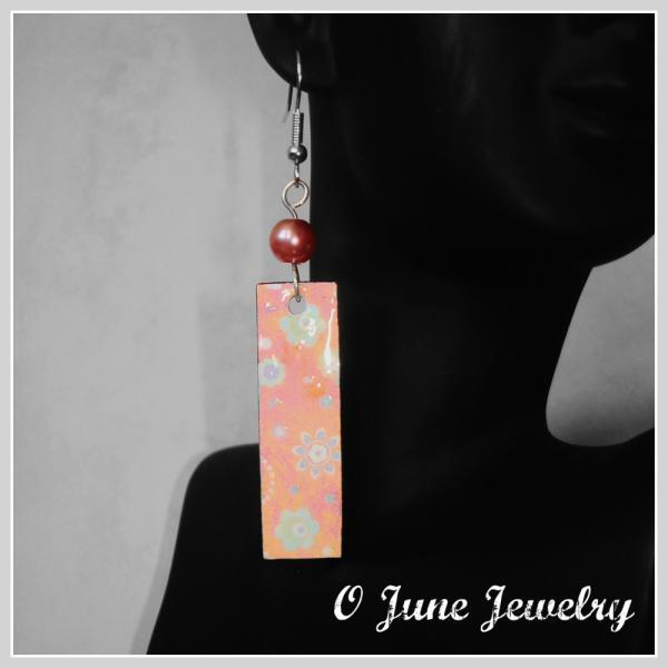 Orange Creamsicle Floral Paper Earrings