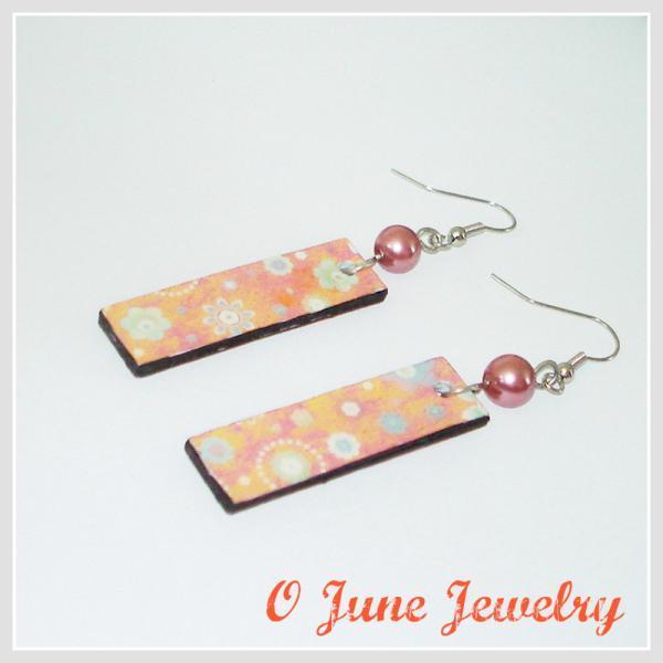 Orange Creamsicle Floral Paper Earrings