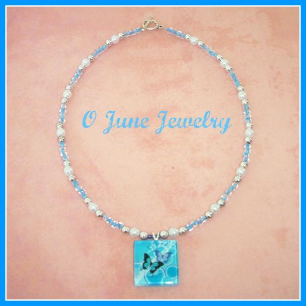 Fantasy Butterfly Glass Tile Pendant Necklace