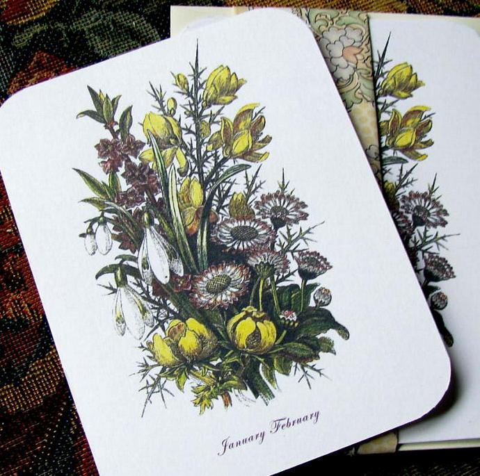 Victorian January and February Botanical Stationery Note Flats Set