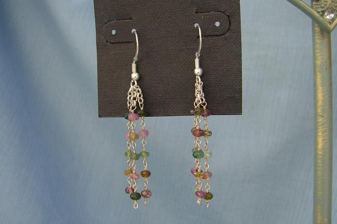 Elegant Tourmaline Triple Sterling Silver Chain Earrings