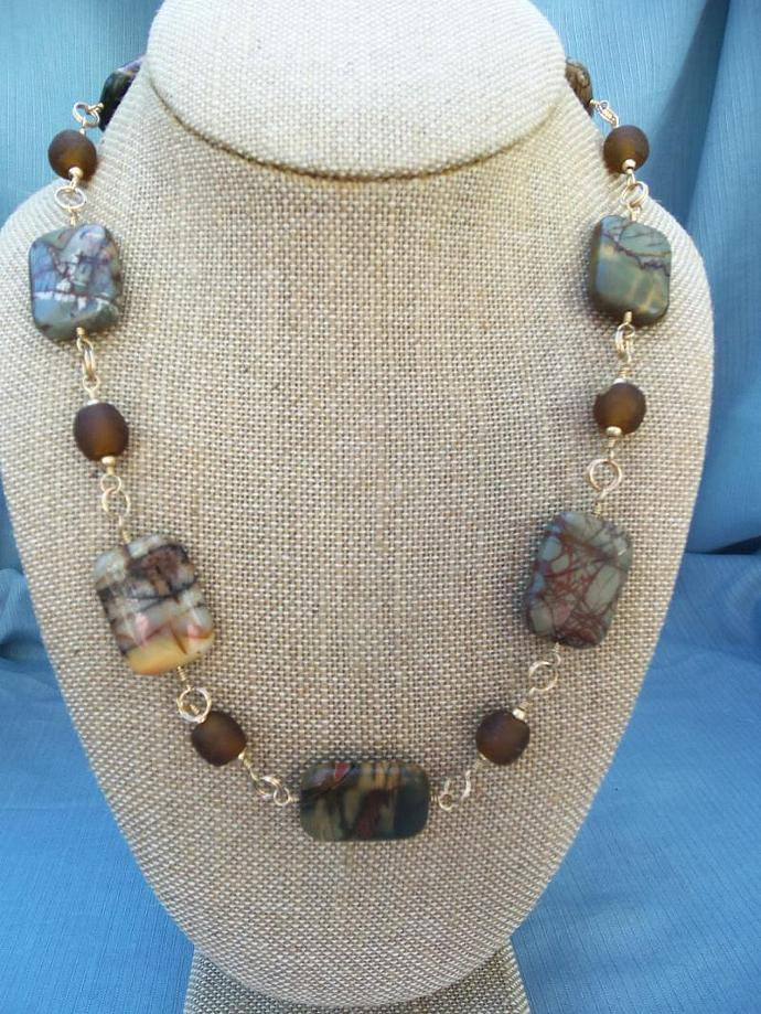 Unique Red Creek Jasper and African Glass 14KT Gold filled Necklace