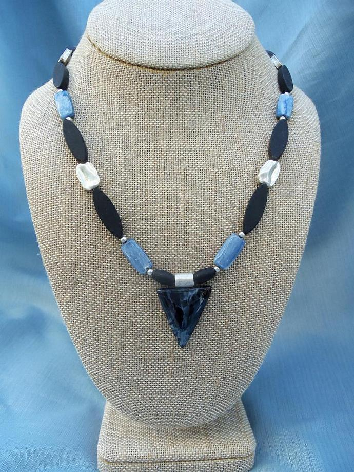 Gorgeous Blue Pietersite Pendant  Blue Kyanite and Onyx Necklace