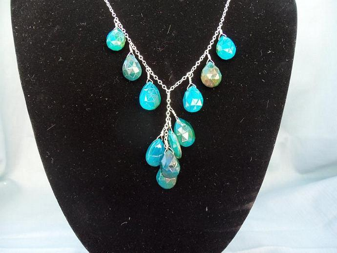 Aqua Blue Chalcedony Briolettes Sterling Silver Necklace for Valentines gift