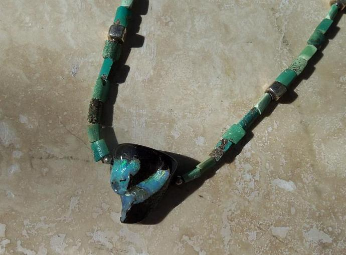 Unique Australian Boulder Opal and Turquoise Necklace