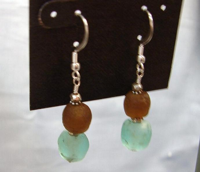 Ancient Sea Foam and Smokey Topaz Glass Earrings